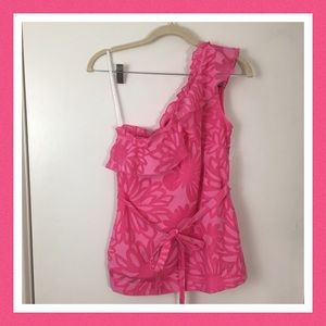 Lilly Pulitzer Pink Sleeveless One Shoulder Blouse
